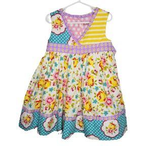 Jelly Pug Dress 2T Floral Dot Patchwork Purple